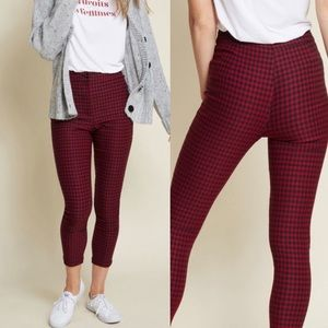ModCloth Blue Red gingham skinny pants size M